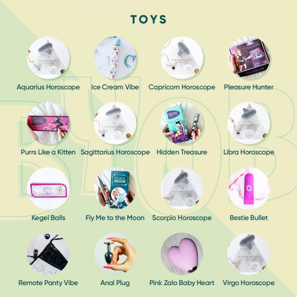 Image of a variety of sex toys and gifts